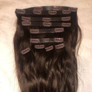 "Luxy hair 20"" seamless dark brown clip-ins"
